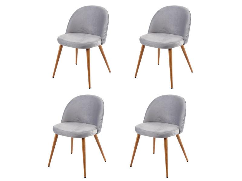 4x chaise de salle à manger hwc-d53, fauteuil, style rétro années 50, en velours ~ gris clair