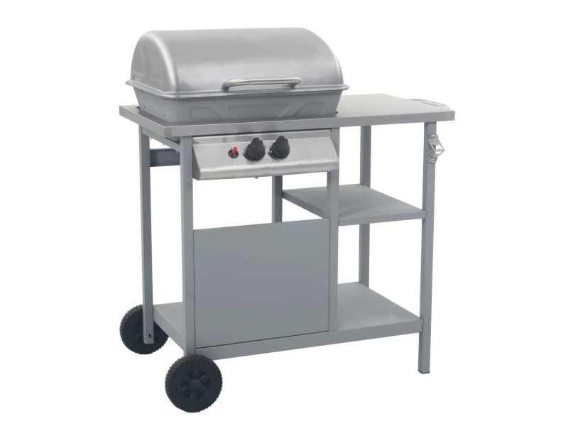 Splendide électroménager de cuisine serie luanda barbecue à gaz avec tablette à 3 couches noir et argenté