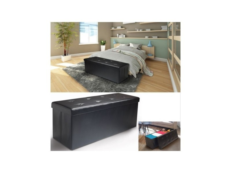 banc coffre rangement pvc noir 76x38x38 cm pliable vente. Black Bedroom Furniture Sets. Home Design Ideas