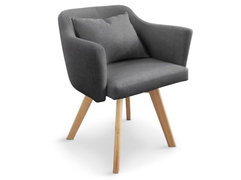 Chaise / fauteuil scandinave dantes tissu gris foncé