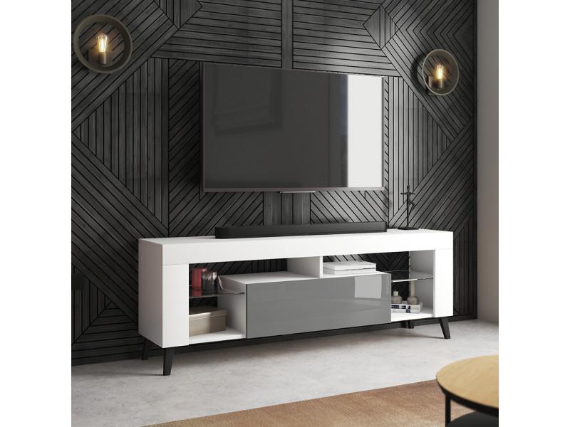 Meuble tv - hugob - 140 cm - blanc mat / gris brillant
