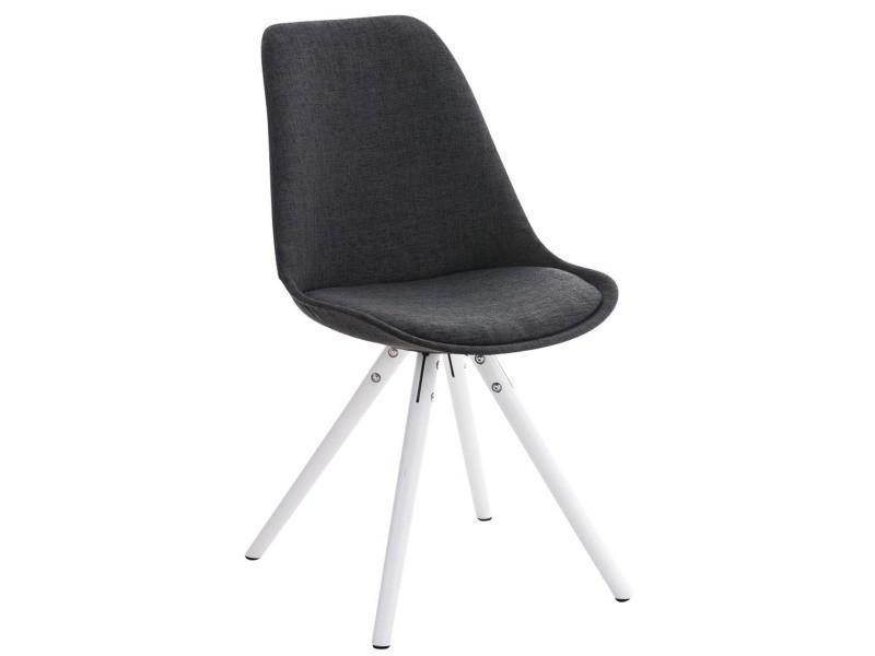 Chaise ronde en bois et tissu blanc/gris foncé - 84 x 47 x 59 cm - pegane -