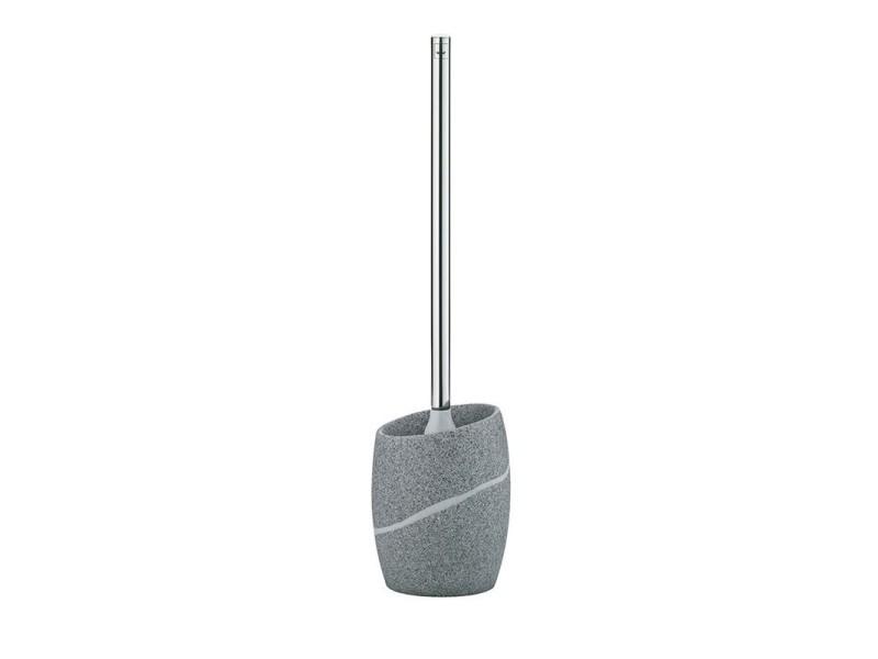 Brosse wc polyester gris aspect pierre naturelle