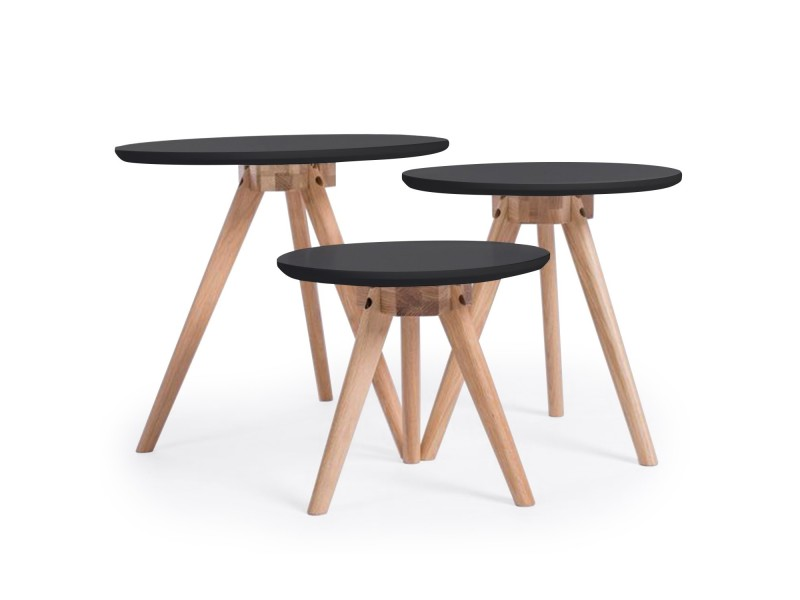 Tables basses rondes style scandinave tertio noir vente for Table basse scandinave conforama
