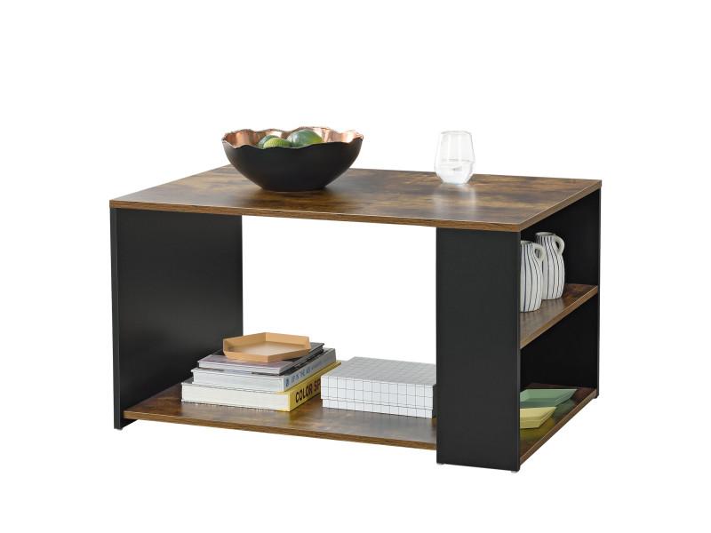 Table basse pour salon meuble stylé avec compartiment de stockage sur côté et en bas en panneau de particules mélaminé 48 x 90 x 59 cm noir chêne foncé [en.casa]