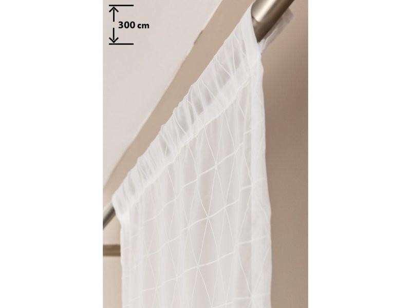 Panneau japonais 60 x 300 cm passe tringle bande velcro style scandinave motif géométrique blanc
