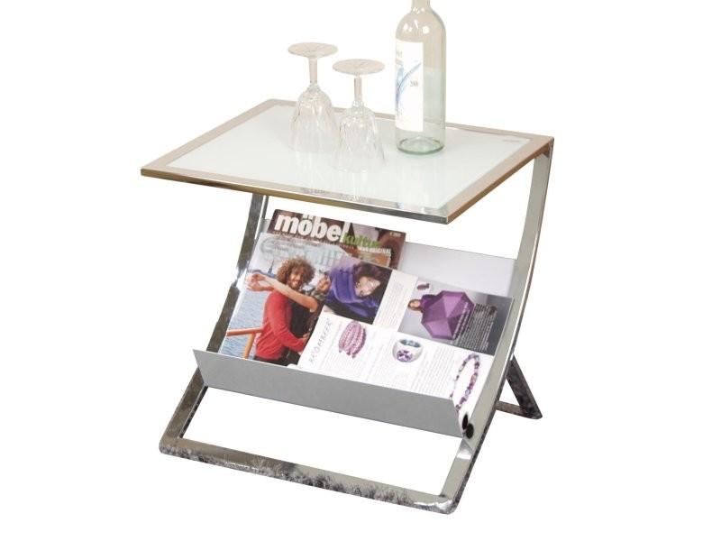 Table d'appoint en acier tubulaire blanc plateau en verre rangement magazine taba05105