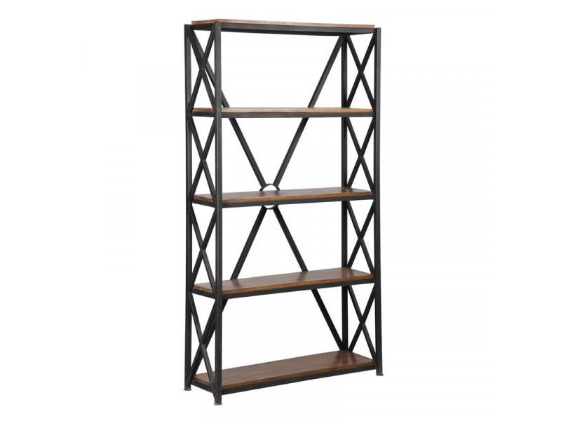 Étagère 5 niveaux métal/bois - brac - l 90 x l 45 x h 180 cm