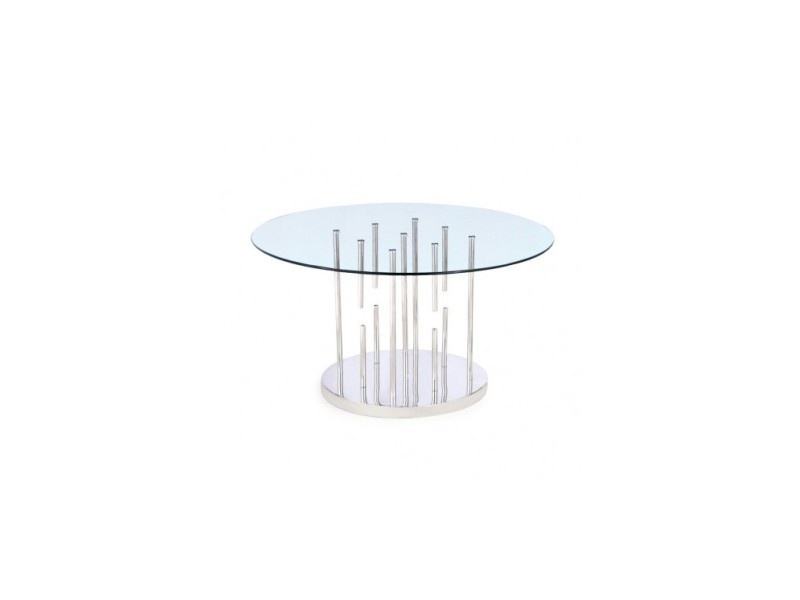 Table à manger plateau verre et chrome chicago