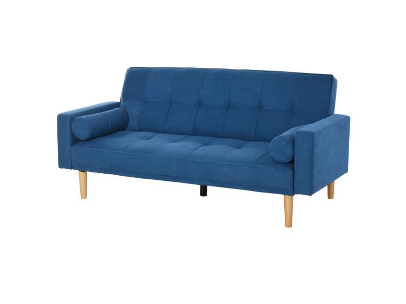 Canapé convertible 3 places design scandinave dossier inclinable 3 positions pieds bois tissu lin bleu