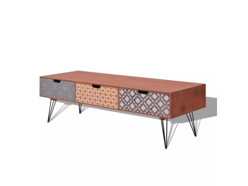 Meuble télé buffet tv télévision design pratique avec 3 tiroirs 120 cm marron helloshop26 2502099