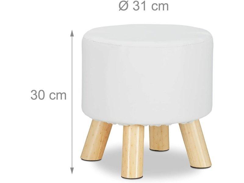 Tabouret rond 4 pieds bois et similicuir blanc helloshop26 13_0002818