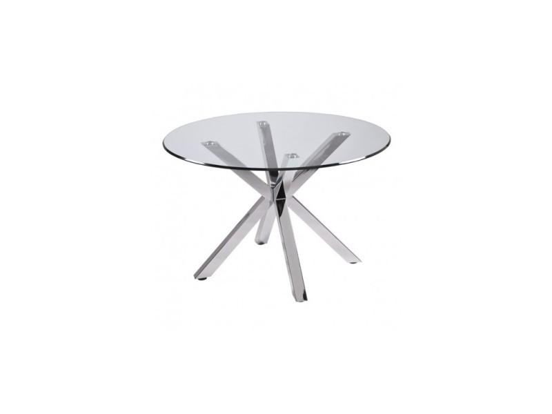 Table ronde en verre pieds chromés idol 120 cm