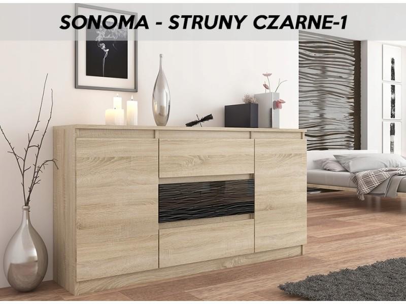 Albi s1 | commode contemporaine chambre/salon/bureau meuble rangement buffet | 140x40x76 | 3 tiroirs 2 portes | finition laquée | sonome/noir