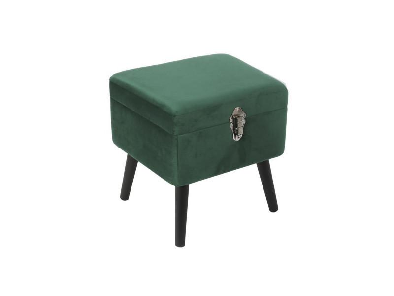 Tabouret avec coffre - imitation velours - 40 x 40 cm - vert