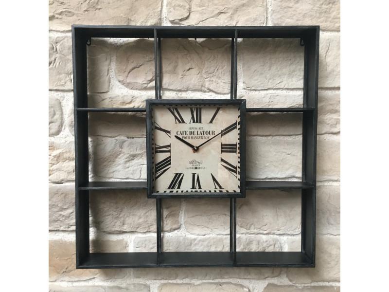 Horloge industrielle etagère industrielle murale 80 cm x 80 cm x 12 cm