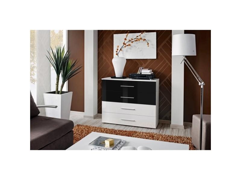 Commode - go iv - 100 cm x 83 cm x 40 cm - blanc et noir - tiroirs bicolores - brillant