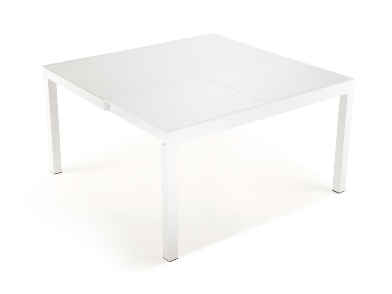 Gabrielle console extensible en table carrée avec plateau verre trempé blanc