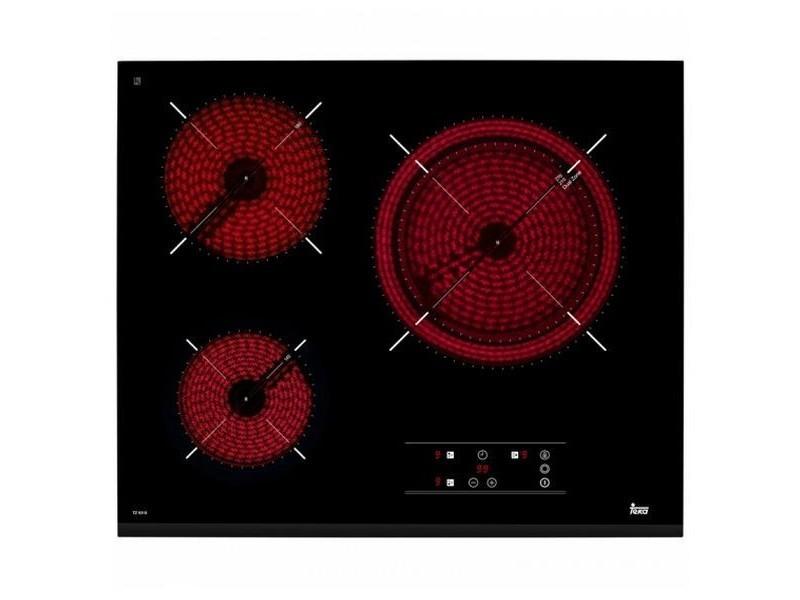 Plaque vitro céramique avec minuterie et voyant lumineux 60 cm noir (3 zones de cuisson)