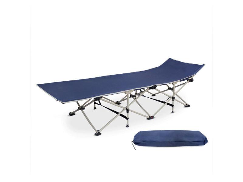 Transat réglable, lit de plage pliant, 190 x 67 x 35 cm, bleu marin, matériau: polyester 600d, tubes en acier 3700778716741