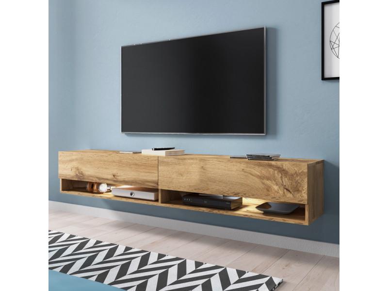 Meuble tv - WANDER - 180 cm - effet chêne wotan - LED