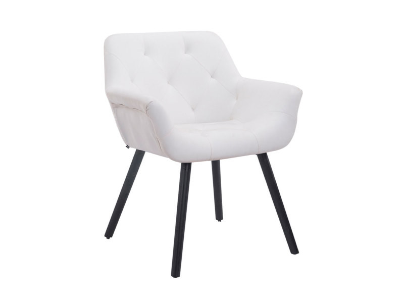 Chaise de visiteur cassidy similicuir , blanc /noir