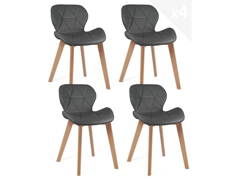 Lot de 4 chaises scandinaves design simili cuir FATI (gris) 677