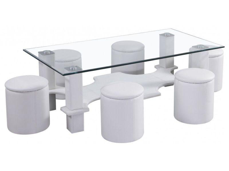 Table Basse En Verre Avec 6 Poufs Pvc Blanc P 164 Co Moon