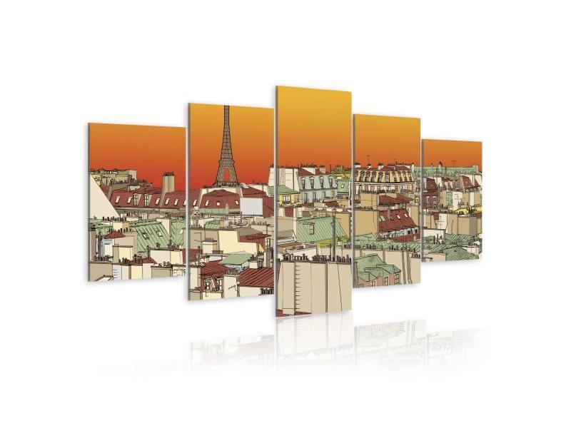 Tableau - ciel parisien en couleur de l'orange 200x100