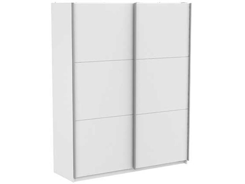 Armoire de 2 portes coulissantes coloris blanc mat - dim : 178,7 x 223,7 x 64,7 cm -pegane-