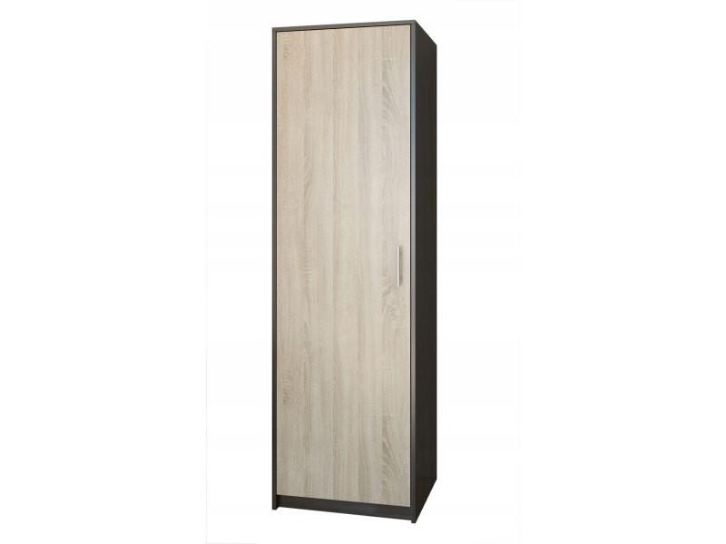 Essen - petite armoire contemporaine chambre/bureau/studio - 180x55x42 cm - penderie - meuble de rangement - wenge/sonoma
