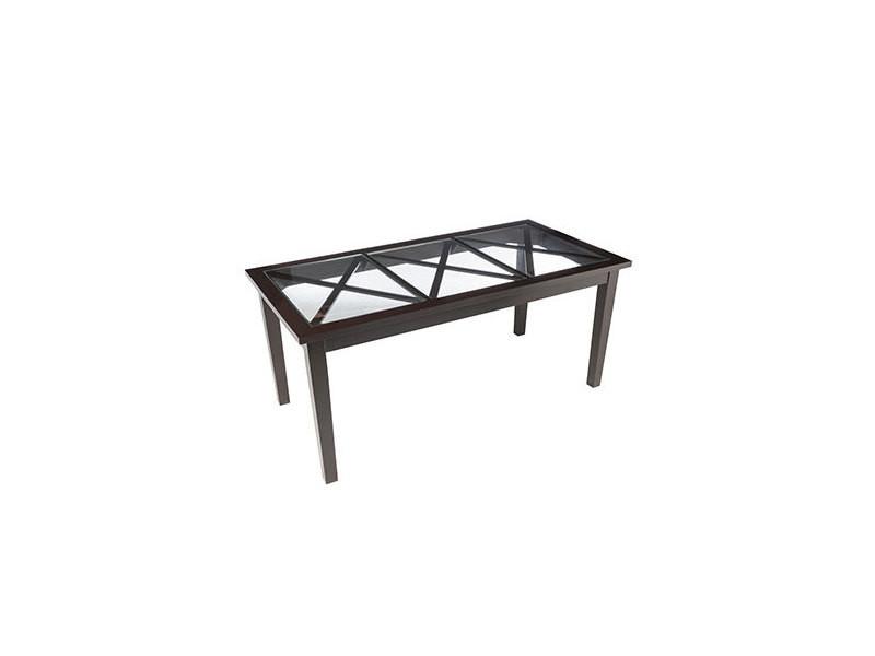 Table à manger 180 cm en bois et verre noir - abies - Vente de Table ...