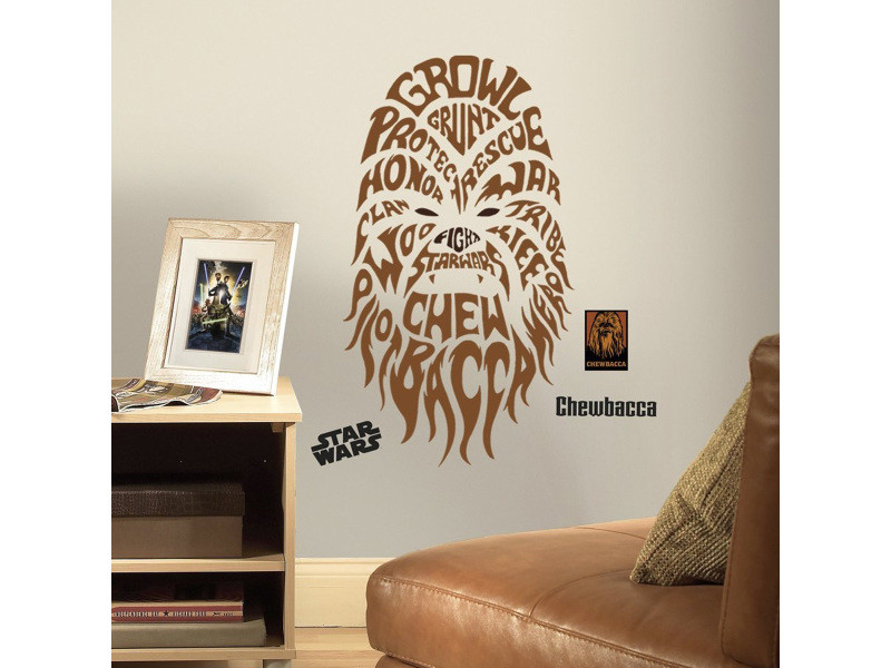 Stickers géant chewbacca typographique star wars