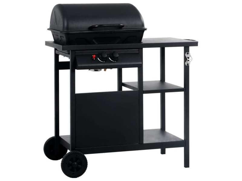 Superbe électroménager de cuisine categorie berlin barbecue à gaz avec table latérale à 3 niveaux noir
