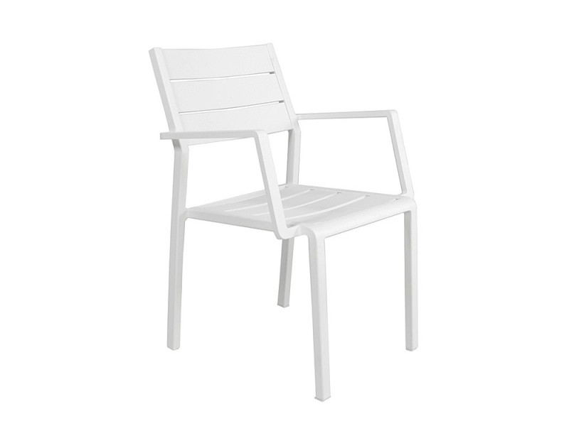 Chaise avec accoudoirs en aluminium blanc trenton