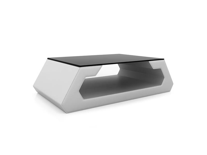 Alma - table basse blanc design avec plateau en verre trempé