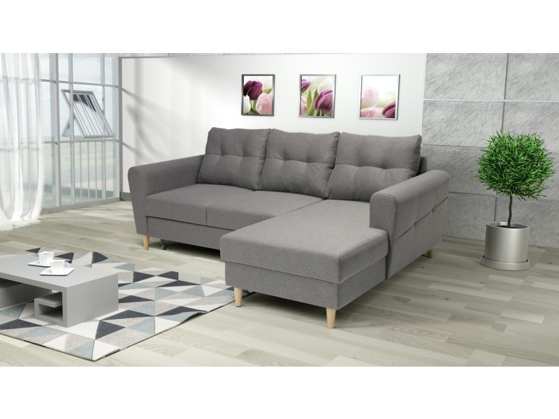 Canape D Angle Convertible Scandinave Ontario Angle Droit Gris