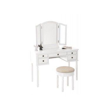 coiffeuse avec tabouret miroirs et tiroirs de rangement en bois blanc moc10026 conforama. Black Bedroom Furniture Sets. Home Design Ideas