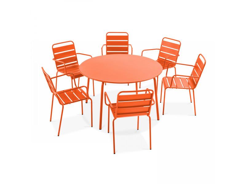 Table de jardin ronde et 6 fauteuils en métal gris, palavas 6 places acier orange