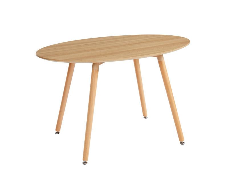 Table coloris chêne clair en mdf et hêtre massif - dim : 130 x 80 x 75 cm -pegane-