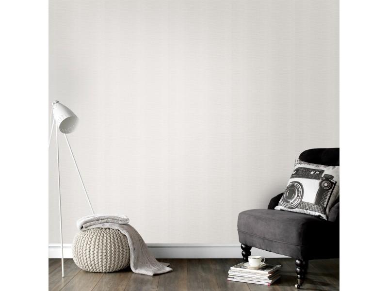 Papier peint intissé textile uni 1005 x 52cm blanc 103448