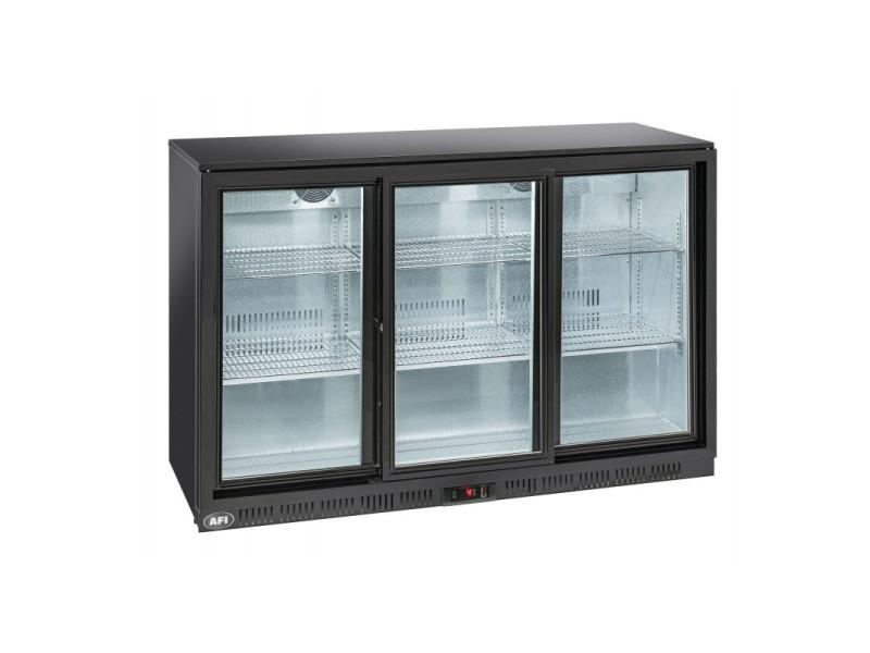 Arrière bar réfrigéré laqué noir - 2 à 3 portes vitrées coulissantes - afi collin lucy - r600a 3 portes 320 litres vitrée/coulissante