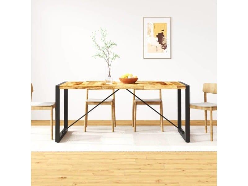 Vidaxl table de salle à manger bois de manguier brut 180 cm 243997