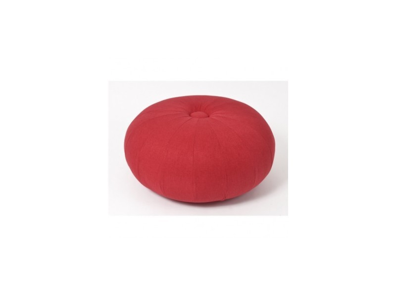 Pouf oval tissu rouge soft