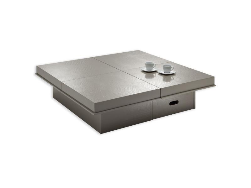 Table basse extensible acapulco table d'appoint carrée fonctionnelle avec 1 tiroir, 4 plateaux coulissants en mdf effet croco brun