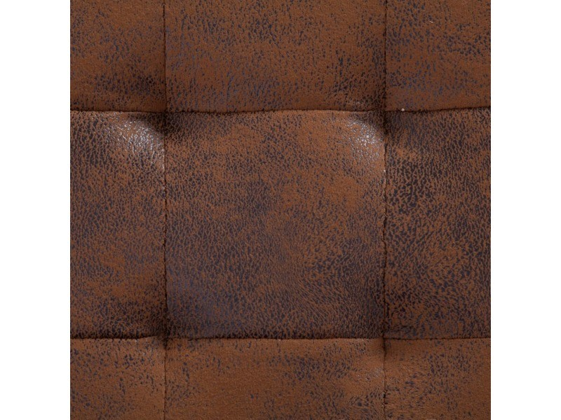 Icaverne - bancs coffres gamme pouf de rangement 87,5 cm marron similicuir daim