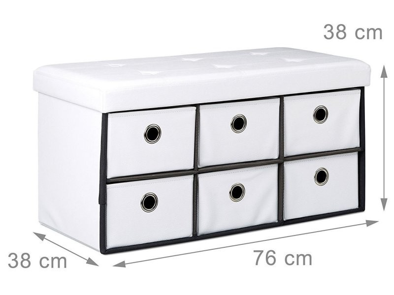 Banquette banc coffre de rangement avc tiroirs 76 cm blanc helloshop26 3013002