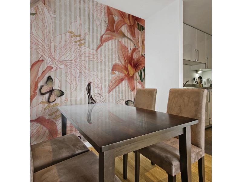 200x154 papier peint motifs floraux fonds et dessins inedit fleurs et papillons