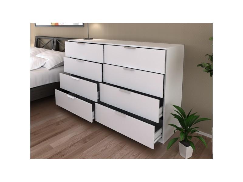 commode 8 tiroirs blanche 160 cm arada l 160 x l 41 4 x h 95 conforama. Black Bedroom Furniture Sets. Home Design Ideas