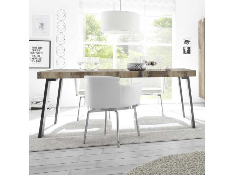Table de repas planches bois/métal - palerme - l 165 x l 88 x h 78 - neuf